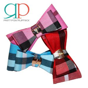 pretty paw small plaid bow tie